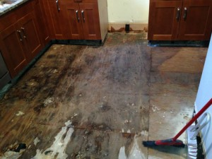 Removing damaged floor and sub floor Atlanta Savannah